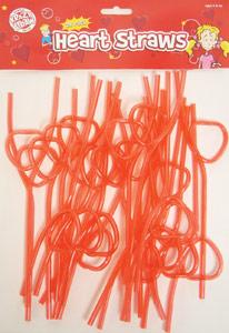 24 Pack Heart Straws