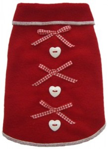 I See Spot's Dog Pet Fleece Pullover, Sweater, Red Fleece with Bows and Heart Buttons, Medium, Red