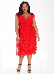 Adelle Plus Size Dress in Garnet Lace