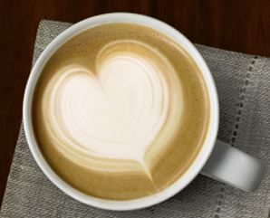 second cup heart coffee