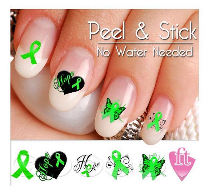 Brain Injury Awareness Nail Art Decal Stickers - Brain Damage Awareness Nail Art
