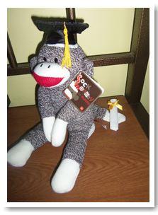 Graduation Sock Monkey 12″ by Aurora