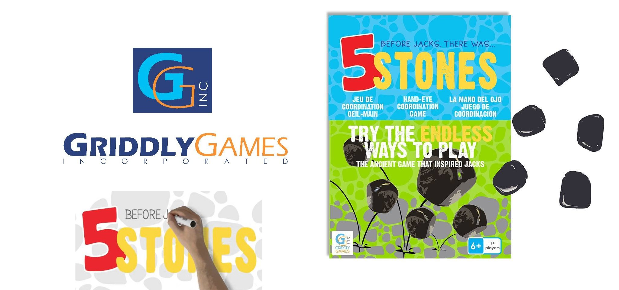 5 stones game from Griddly Games
