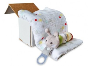 Organic Swaddle Blanket & Plush Toy Pacifier Holder Gift Set
