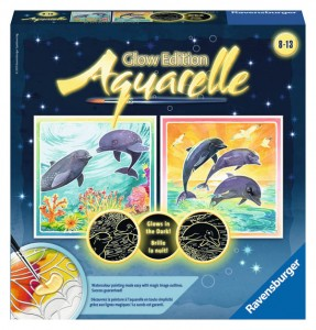 Aquarelle Glow: Dolphins