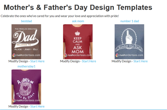 Mother's & Father's Day Design Templates
