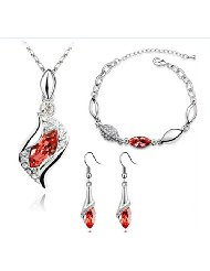 RuSong Fashion Jewelry Set with Necklace Earrings Bracelet Crystal Element Type