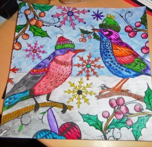 Christmas themed adult colouring book
