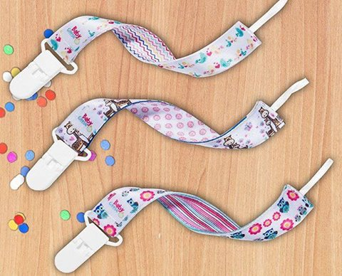 Premium Glow-in-the-dark Girls Pacifier Clips - 3 Binky Holders Pack