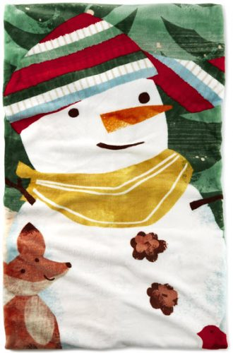 Smiling Snowman Flannel Throw Blanket