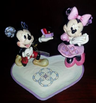 Disney Traditions Jim Shore Mickey & Minnie Mouse Proposing Ring Dish Figurine