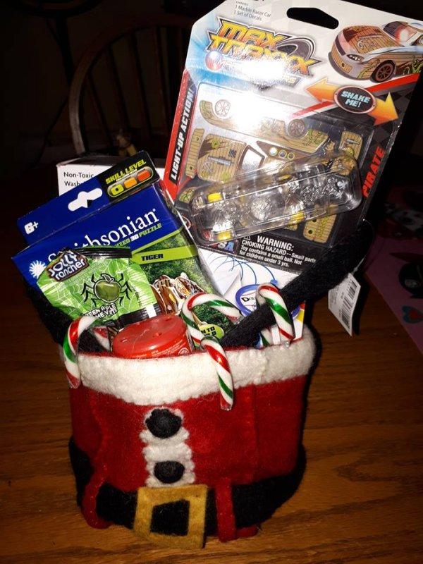 Santa trousers gift basket