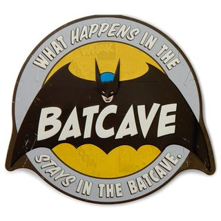 Batcave Embossed Metal Sign