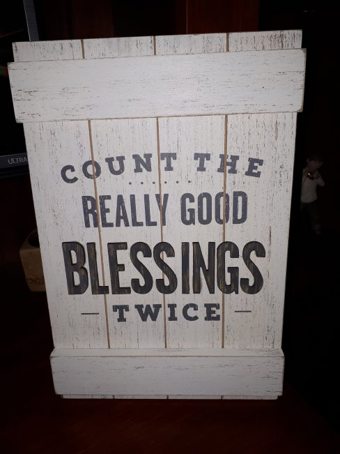 Count the Really Good Blessings Twice Wood Quote Sign