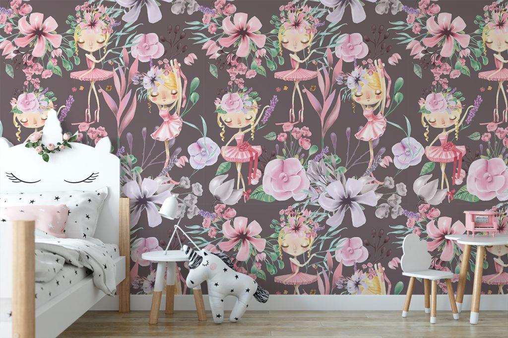 dark floral mural bellerina