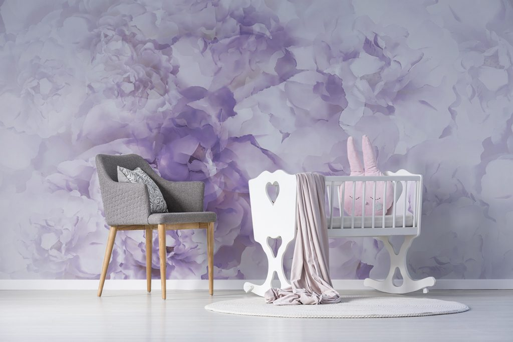 purple white peony flowers mural