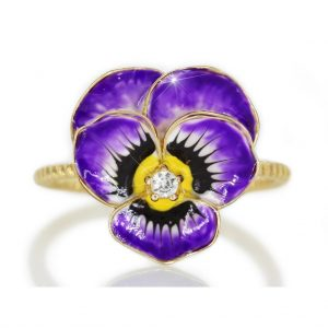 The Pansy: Enamel Flower in Gold. The jewelry from Poppy Angeloff .