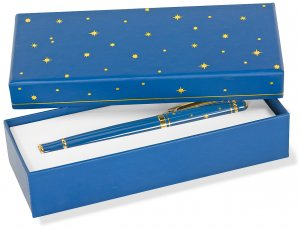 NAVY & GOLD ROLLER BALL PEN WITH GIFT BOX