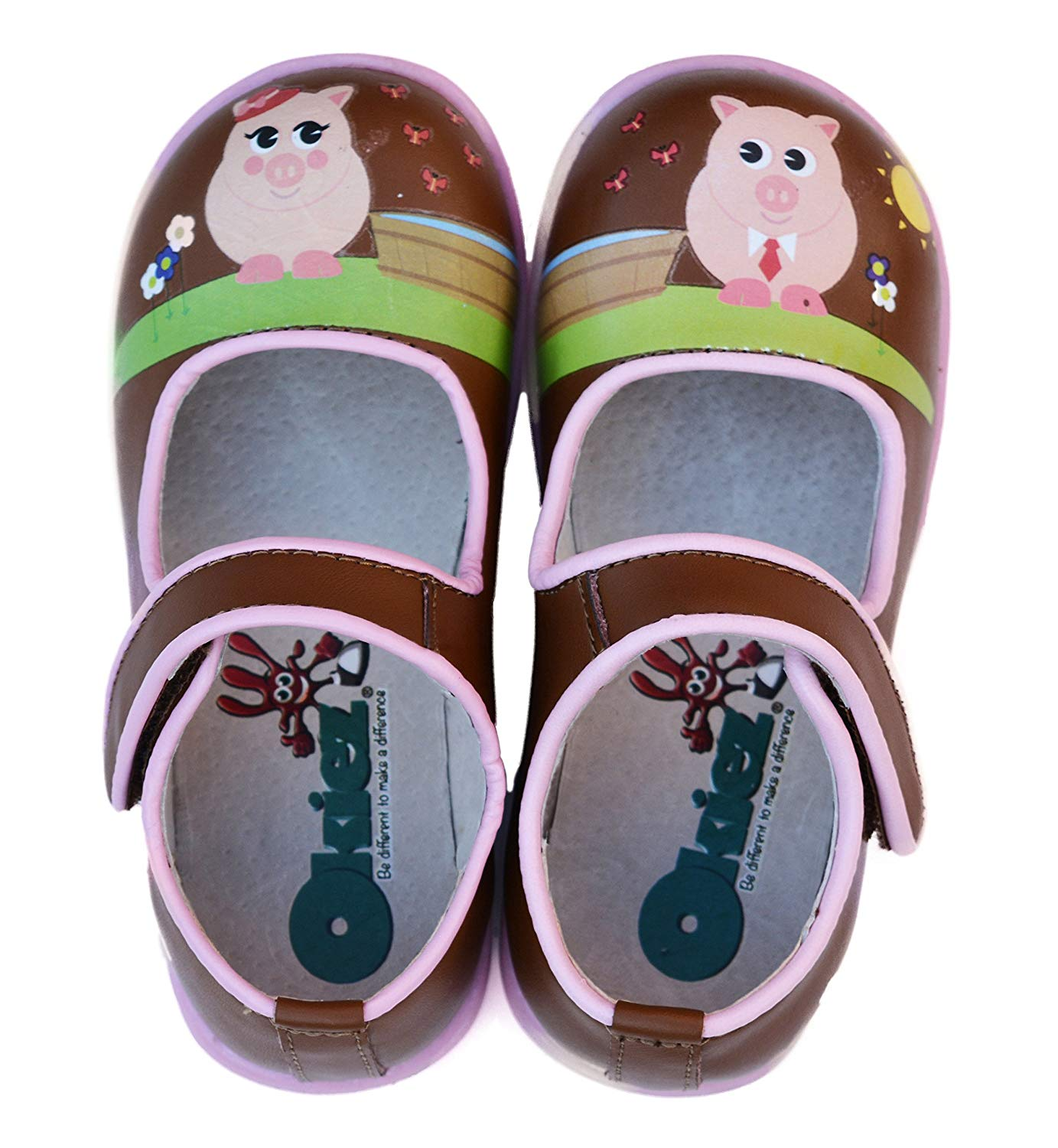 Okiez Brown & Pink Piggies Mary Janes Leather Shoes